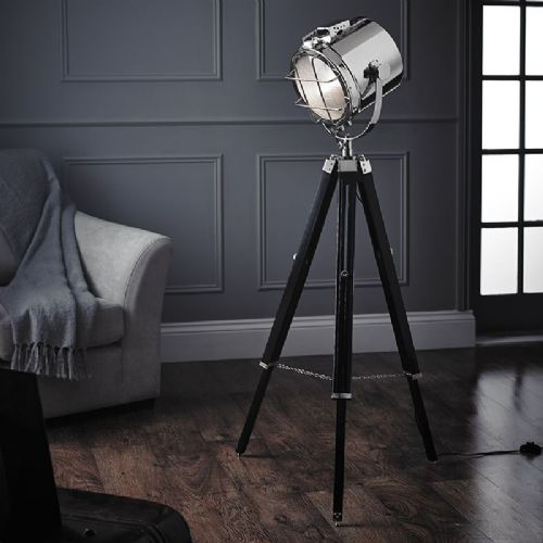 Polished nickel plate & matt black floorlamp BXEH-NAUTICAL-FL-17 by Endon (Class 2 Double Insulated)